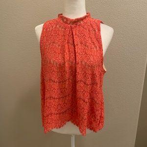 Love Fire Coral Orange trapeze Lace Top
